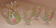 glass pitcher and three glass glasses with pink roses pre owned excellent