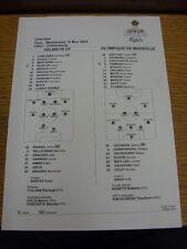 19/05/2004 COLORI teamsheet: finale di Coppa UEFA: Valencia V OLYMPIQUE MARSEILLE [A