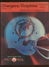 November 3 1968 AFL Program Miami Dolphins at San Diego Chargers EX+
