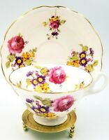 Heathcote England Bone China Tea Cup and Saucer #S590 Gold Trim Purple Flowers