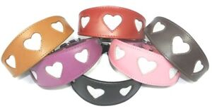 Whippet Collar Greyhound Leather Hound Padded Backing Sparkle Glitter Heart