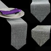 Bling Sparkly Crystal Wedding Table Runner Rhinestone Diamond Mesh Wrap Decor