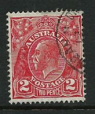 Australia  KGV 2d Red C of A WMK  Fine Used