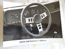 Simca 1000 Rallye 2 - 1294cm press photo brochure c1976 dashboard