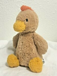 "Jellycat Bashful Rooster Plush Stuffed Animal Baby Toy 8"" Chicken Brown Tan Bird"