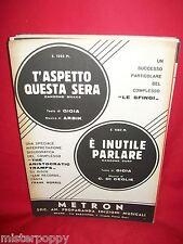 LE SFINGI T'aspetto questa sera + THE ARISTOCRATIC TRAMPS 1966 Spartiti BEAT