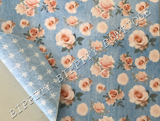 "NEW DOUBLE SIDED ""SOFT DENIM"" FLORAL PRINTED FABRIC SHEET..HAIR BOWS, CRAFTS"