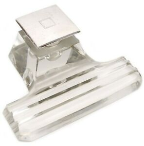 WILLIAM B. KERR & CO. ART DECO 1930 INKWELL IN STERLING SILVER AND CLEAR CRYSTAL