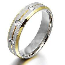 Men Women Yellow Gold Diamond Wedding Engagement Bands Titanium Ring H-Z4 Court