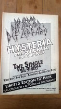 DEF LEPPARD Hysteria the single 1987 magazine ADVERT/Poster/clipping 11x8 inches