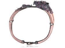 Copper Tone Alloy Purple Crystal Rhinestone Jaguar Cuff Bracelet Bangle Jewelry