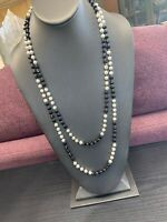 Vintage white imitation White pearl beaded Black Glass long necklace 60""