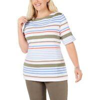 Karen Scott Womens Plus 2X Bright White Cuffed Lulu Stripe Boat Neck Top NWT