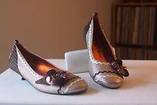 Irregular Choice Browns Tans Embellished Fabric Buttons Kitten Heels Pumps Sz 40
