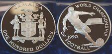 100 Dollar Argent 1990 Jamaica (Jamaïque), football WM Argent, 136,08g, 63mm PP
