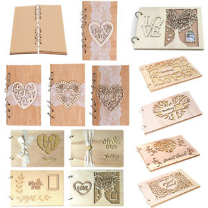 Wedding Guest Books Wooden Retro Hollow Lace Notebook Name Sign Board Gifts