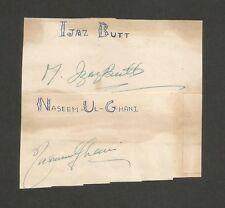 Cricket Pakistan signatures autographs of  IJAZ BUTT & NASEEM GHANI 1950s-60s