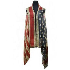 Southern Grace Vintage Stars & Stripes Cardigan Scarf Vest SS1235