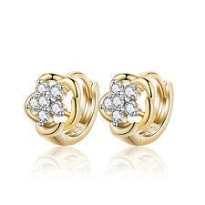 K80 Christening Gift First Baby Girl 18 k Gold Plated Earrings Hoops Flower