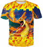 Men Women Tee Tops Anime Charizard Print Cartoon 3D T-Shirt Cusual Short Sleeve