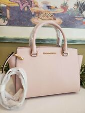MICHAEL KORS SELMA MEDIUM ZIP SATCHEL SHOULDER BAG BLOSSOM PINK LEATHER $398