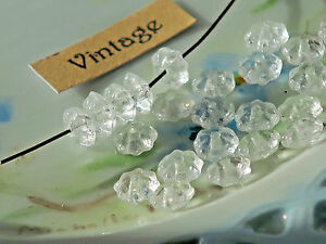 Vintage Daisy Beads Glass Czech Daisies Spacers NOS 6x3 Crystal Victorian #1674A
