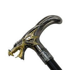 Golden Winged Dragon T Handle Metal Cane 2pc Steel Shaft Travel Walking Stick