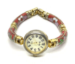 Handmade Cloisonne Enamel Floral Design Ladies Watch