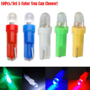 10Pcs T5 DC 12V LED Car Wedge Dashboard DASH Gauge Light Lamp Bulb Multi-Color