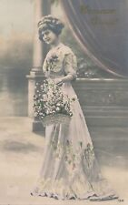 Young Woman with Flower Basket Hand Colored Real Photo Postcard rppc - 1912