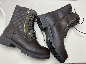 Reneeze LUCKY-01 Womens Mid-Calf Combat boots w/Foldable Lace Up Shaft size 8