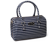 Kate Spade Melinda City Stripe Leather Bag Navy Cream Women 2855