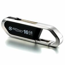 "meZmory USB stick 16gb speicherstick USB 2.0 schlüssel-anhänger edelstahl ""Clip"""