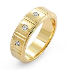0.17 Ct Three Stone Round Diamond Wedding Men's Ring 14k Gold Yellow Band Sz 10