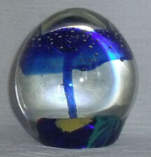 """Dynasty Gallery Paperweight Blue Mushroom Controlled Bubbles Vtg Art Glass 3.5"""""""