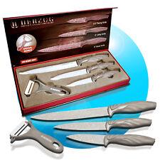 Kochmesser Messerset Küchenmesser Sparschäler 4 tlg. Set grau Carbonoptik M3M