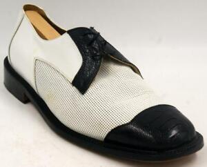 Belvedere Nello White/Black Men's Oxford Dress Shoes Sz 10.5 M Shoes W/Box