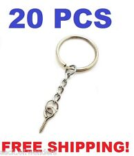 20 Pcs - Silver 24mm Split Key Ring Keychain With Extend Chain Eye Screw Pin DIY