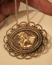 Handsome Loop Rim Textured Goldtone Reflective Cherub Angel Pendant Necklace Pin