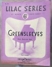 Rare Vintage Original Uk Sheet Music,Greensleeves, Piano, Lilac Series