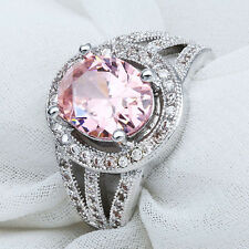 Gorgeous 925 Silver Pink Sapphire Gemstone Ring Wedding Propose Jewelry Size 7