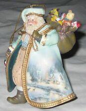 Green Ceramic Thomas Kinkade Santa W Toys & Winter Scene Robe Ornament Figurine