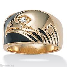14K GOLD GP PLATED BLACK ENAMEL AMERICAN EAGLE RING SIZE 8 9 10 11 12 13