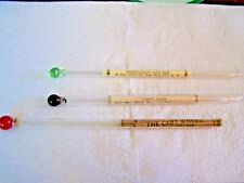 3 Glass Rolled Paper Advertising Swizzle Sticks Two are New York Ny & Other