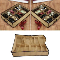 12Pairs Brown Shoes Storage Organizer Holder Container Under Bed fashion