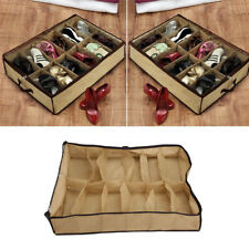 12 Pairs Shoes Storage Organizer Holder Container Under Bed Closet Box Bag AU
