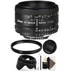 Nikon AF FX NIKKOR 50mm f/1.8D Prime Lens with Professional 52mm Accessory Kit