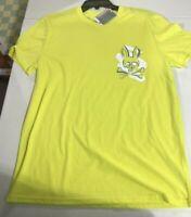 Psycho Bunny Men's SZ L Graphic Logo Lounge Short Sleeve T-Shirt Tee Lemon