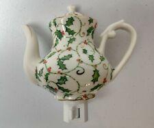 Vintage Porcelain TeaPot Plug-In Night Light - Holly Leaves & Berries