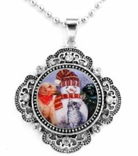 """LABRADOR DOGS, SNOWMAN, CAT SNAP BUTTON CRYSTAL NECKLACE ON A 25"""" CHAIN ~NEW!"""